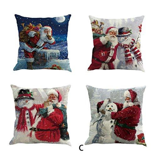 Christmas Pillow Case, Kimloog Snowman And Santa Claus Couch Bed Car Decors Cushion Pillow Covers 18x18 (18X18