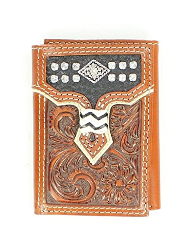 Nocona Men's Trifold Floral Tooled Rhinestone Wallet, Tan, - Leather Tooled Fold Tri