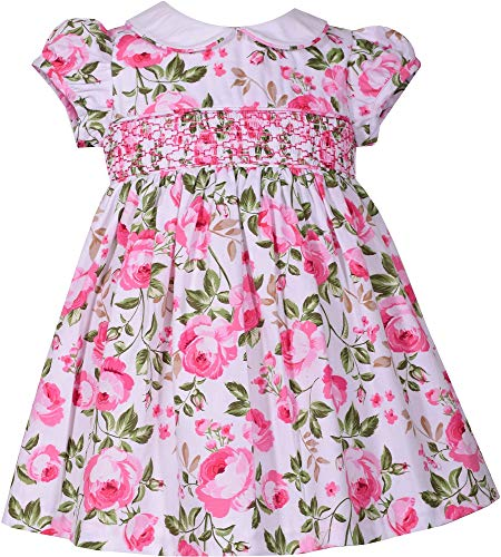Baby or Girls Smocked Dress Cabbage Rose Easter Dress (4T)