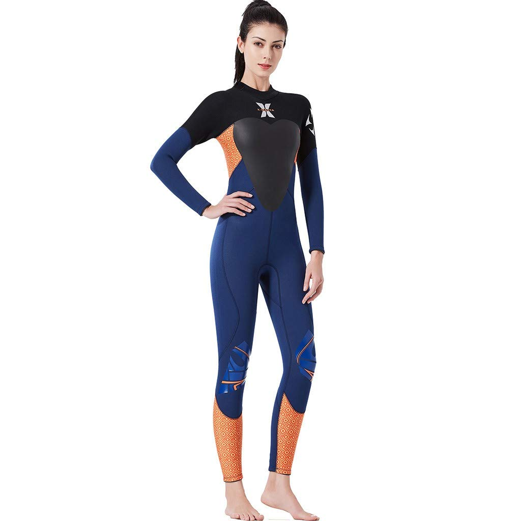 WoCoo Wetsuit Women Full Diving Suits, Back Zip UV Protection Girls Swimsuit Surfing Jumpsuit Scuba Diving Snorkeling(Blue,Medium) by WoCoo