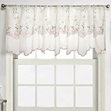 ZHH Morning Glory Pattern Cafe Curtain,Pastoral Style Two-Layer Embroidered Floral Window Valance 59 by 17-inch,Pink