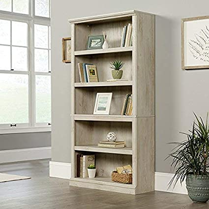 Sauder 423033 5 Shelf Bookcase Chalked Chestnut Finish