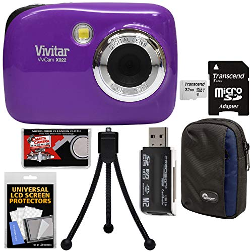 Vivitar ViviCam VX022 Digital Camera (Purple) with 32GB Card + Case + Tripod + Kit