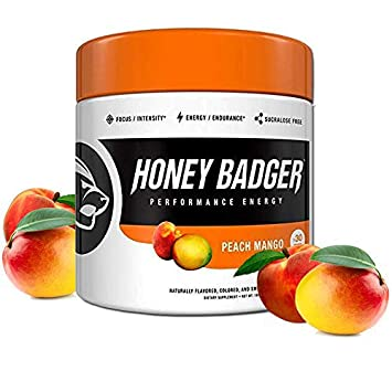 Honey Badger Natural Keto Pre Workout for Men Women Performance Energy, Paleo, Nitric Oxide, Amino Acids, Peach Mango, 30 Servings, Sugar Free, Sucralose Free, Naturally Flavored Sweetened