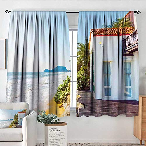 Elliot Dorothy Curtain Panels,Set of 2 Ocean,Coastal Charm Themed Beach House Porch View Moroccan Style Architecture Island Artsy Print,Multi,Modern Farmhouse Country Curtains 42