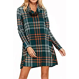 Women's Casual Long Sleeve Plaid Dresses Loose Swing Tunic Dress with Pockets