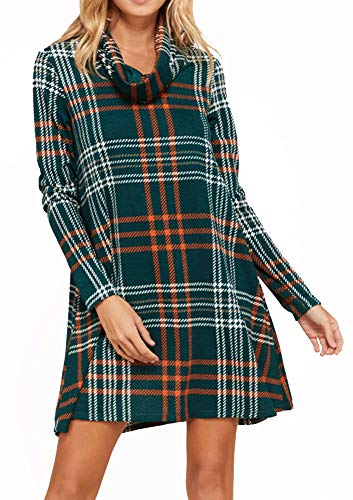 Womens Casual Long Sleeve Plaid Dresses Loose Swing Tunic Dress with Pockets Green