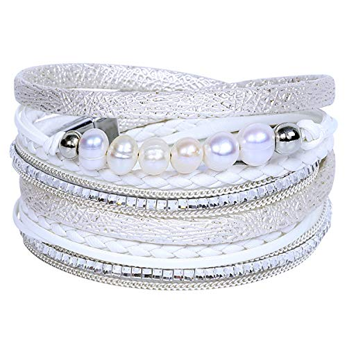 Women Wrap Bracelets Fashion Boho Multilayer Bracelet Bohemian Handmade Wristband Braided Rope with Magnetic Clasp Pearl Jewelry for Women Teen Gift (2 Wrap 6 Pearls-Angel White)