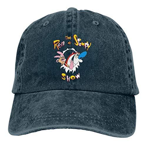 Zlizhi Funny The Ren and Stimpy Show Logo Men Women Plain Cotton Adjustable Washed Twill Low Profile Baseball Cap Hat Navy