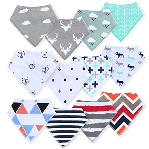 Baby Bandana Drool Bibs for Drooling and Teething 12-Pack Gift Set 100% Organic Cotton, Stylish -for Boys and Girls, Baby Shower Gift Set