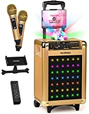 $249 » MASINGO Bluetooth Karaoke Machine for Adults and Kids - Portable Singing Equipment Set W/ 2 Wireless Karaoke Microphones - PA Speaker System with Disco Ball, Party Lights & TV Cable- Soprano X1