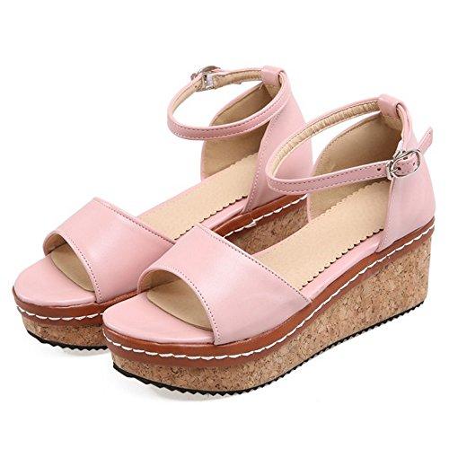 Caviglia TAOFFEN Donna alla Scarpe Sandali 2 Cinturino Flatform Pink ww7qP1tx