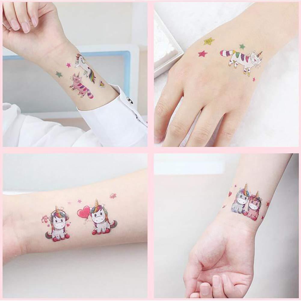 Newin Star 1 hojas de unicornio temporal tatuajes niños cumpleaños ...