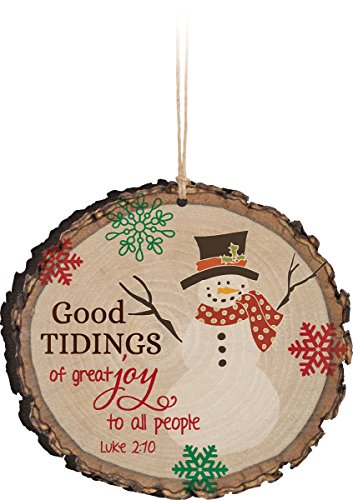 Good Tidings of Great Joy Snowman Wood Tree Bark 4 inch Christmas Tree - Mall Outlet Dalton