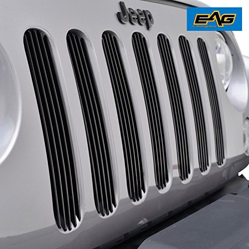 EAG 07-18 Jeep Wrangler JK Unlimited Billet Grille Vertical Bar Aluminum Front Black