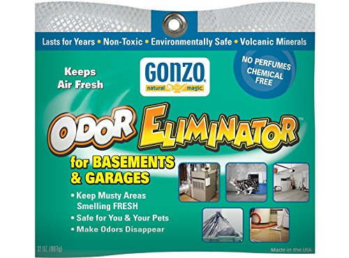- Gonzo Odor Eliminator - for Basement and Garage, All Natural, Non-Toxic, Safe for Pets and Children, Fragrance Free, Chemical Free, Reusable - 32 oz. Bag