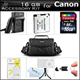 16B Accessories Kit For Canon Powershot SX400 IS, SX410 IS, SX420 IS Digital Camera Includes 16GB High Speed SD Memory Card + Extended Replacement (900maH) NB-11L Battery + AC/DC Charger + Case + More