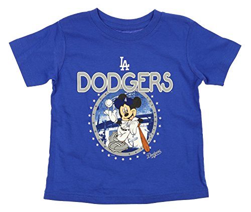 MLB Toddlers Los Angeles Dodgers Mickey Mouse Cross Legs Tee, Blue