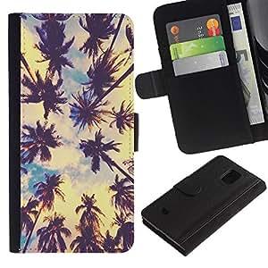 LASTONE PHONE CASE / Lujo Billetera de Cuero Caso del tirón Titular de la tarjeta Flip Carcasa Funda para Samsung Galaxy S5 Mini, SM-G800, NOT S5 REGULAR! / Miami LA palm trees tropical summer