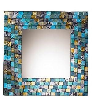 Miroir carré en mosaïque - Turquoise et doré: Amazon.fr: Cuisine ...