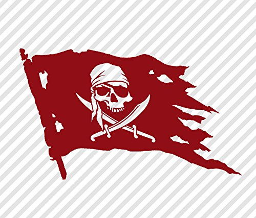 MMTH Pirate Skull and Swords Flag Jolly Roger 8.5 inch Vinyl Decal Window Sticker Dark Red ()