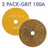 CHANGE MOORE Wet Diamond Polishing Pads 5 Inch for Marble Granite Travertine Terrazzo Concrete Stones Quartz Countertop Floor, 2 pack-Grit 100A