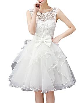 e42f084820 Mujer Corto Vestidos Sin Mangas De Fiesta De Graduación Blanco M   Amazon.es  Deportes y aire libre