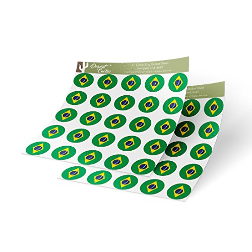 Brazil Country Flag Sticker Vinyl Decal 1 Inch Round Two Sheets 50 Total Pieces Kids Logo Scrapbook Car Laptop Brazilian C Country Flag Vinyl Decal Sticker