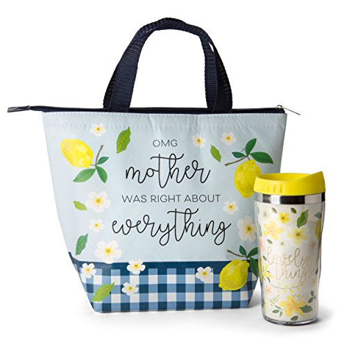 Insulated Lunch Tote and Water Bottle Sets (Lemon Fresh (Girly Lady Mug)