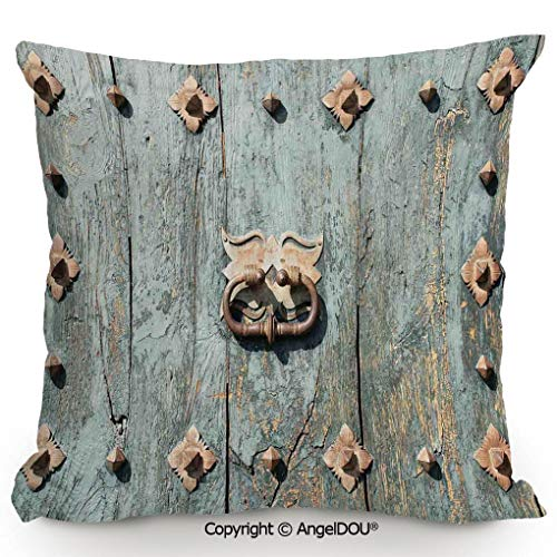 AngelDOU Pillow Cotton Linen Cushion,European Cathedral with Rusty Old Door Knocker Gothic Medieval Times Spanish Style Decorative,Coffee Shop Restaurant Sofa Company 13.7x13.7 inches