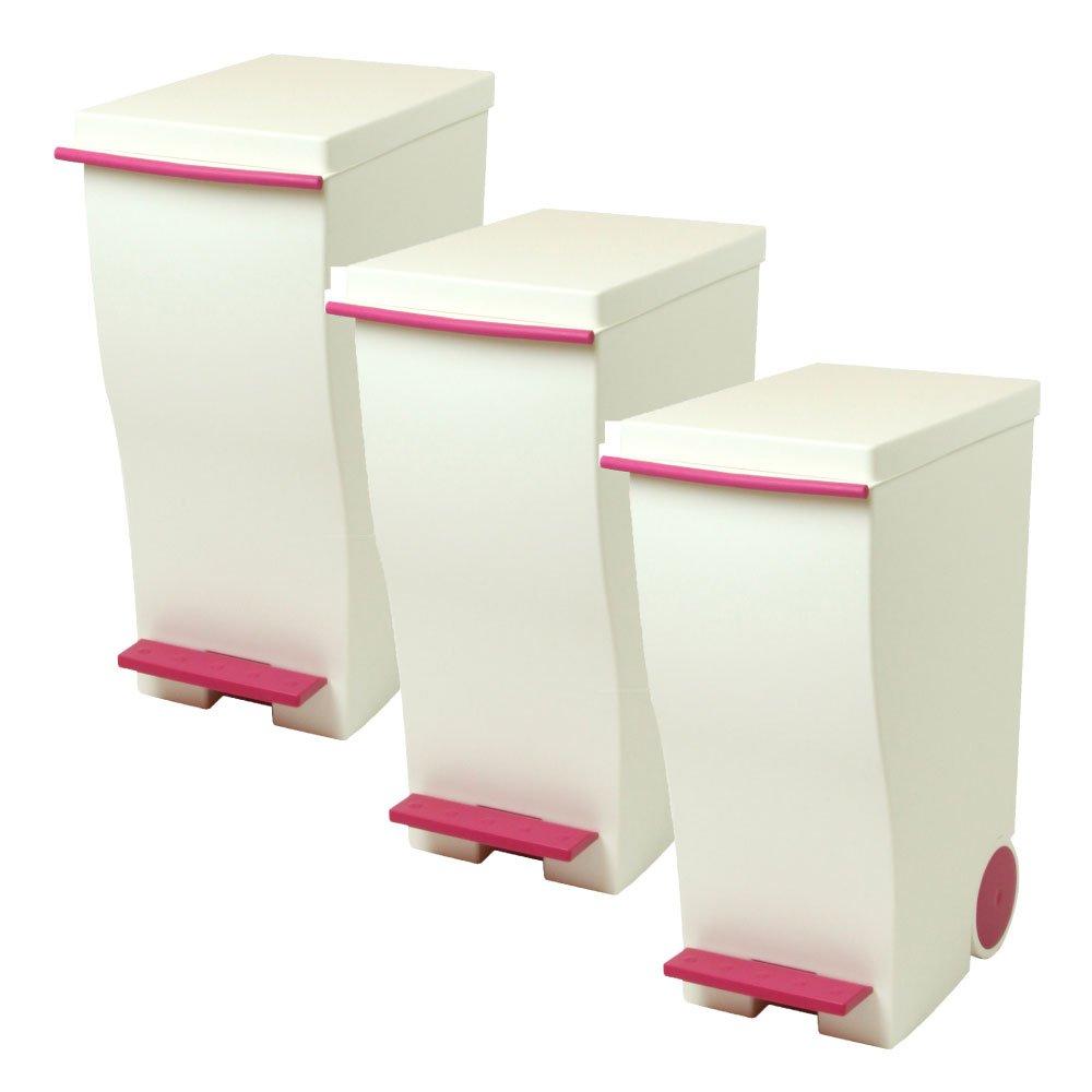 岩谷マテリアル kcud 30 スリムペダル 3個セット ゴミ箱 ごみ箱 ダストボックス おしゃれ ふた付き クード (ピンク×ピンク×ピンク) B0742CP5S4 ピンク×ピンク×ピンク ピンク×ピンク×ピンク
