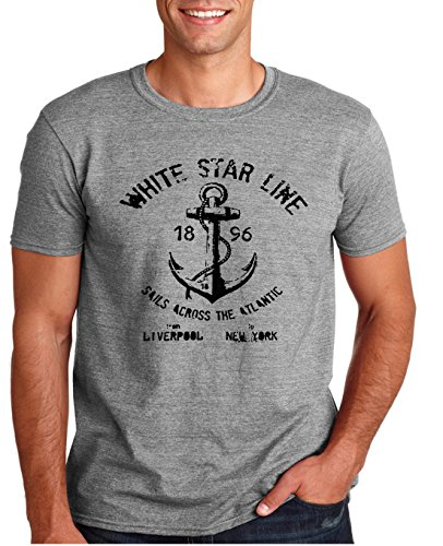 Adult White Star Line Titanic T Shirt Large Sports Gray