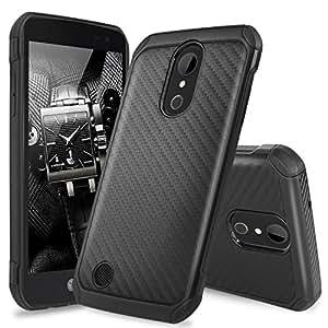 LG K20 Plus Case, LG K20 V Case, LG Harmony Case,TJS Dual Layer Hybrid Shock Absorbing Impact Resistant Rugged Case Cover Carbon Fiber Back with Hard TPU Inner Layer (Not Fit LG K10 2016)