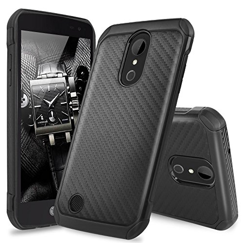 LG Aristo Case, LG Fortune Case, LG Phoenix 3 Case, LG Risio 2 Case, LG K4 Case, LG Rebel 2 LTE Case, TJS Hybrid Shock Absorbing Resistant Rugged Armor Cover Carbon Fiber Back Hard TPU Inner Layer