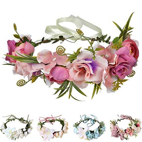 Handmade Adjustable Flower Wreath Headband Halo Floral Crown Garland Headpiece Wedding Festival Party (D11-pink(AD1005))
