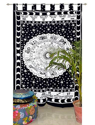 Indian Tab top Curtain Mandala Curtains, Include 1 Panel Set Mandala Curtain, Tab top Tapestry, Drapes & Valances, Window Treatment Curtain