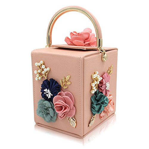 (Milisente Evening Clutch Bag for Women Floral Square Box Evening Bags Crossbody Shoulder handBags Flower Wedding Clutch Purse (Light Pink))