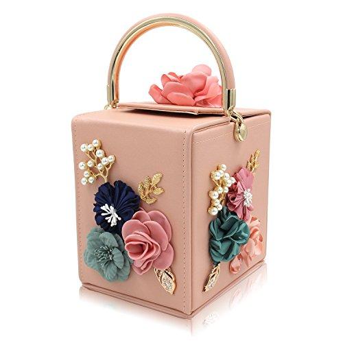 Milisente Evening Clutch Bag for Women Floral Square Box Evening Bags Crossbody Shoulder handBags Flower Wedding Clutch Purse (Light Pink)