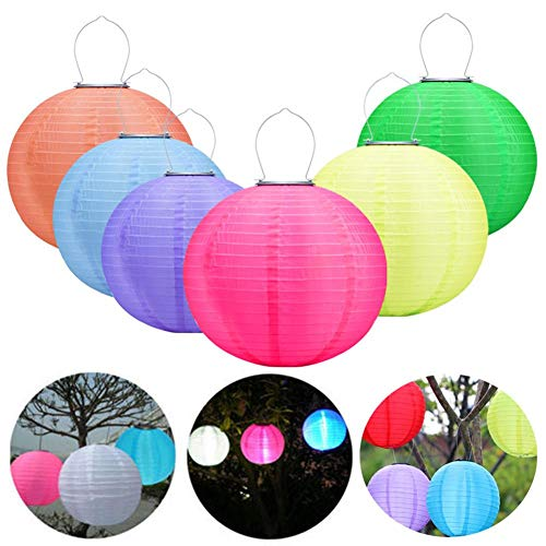 12in Waterproof LED Solar Cloth Chinese Lantern Festival Hanging Lamp Outdoor Garden Solar Hanging LED Light Lanterns (6pcs)