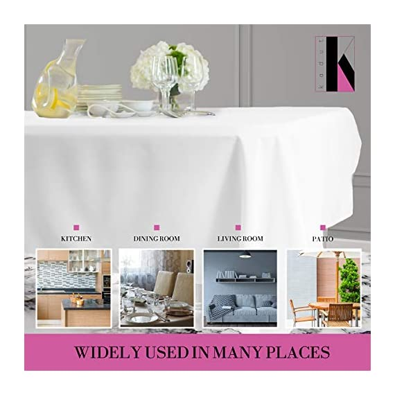 Kadut Rectangle Tablecloth (60 x 126 Inch) White Rectangular Tablecloth for 8 Foot Table | Heavy Duty Washable Table Cloth for Dinner, Parties, Weddings, | Wrinkle-Resistant Dining Table Cover - ☑️ EYE-CATCHING ACCESSORY TO ELEVATE ANY MEAL - Upgrade your kitchen table, dining room table, or buffet table with this stunning White rectangle tablecloth. The White tablecloth is made from smooth, thick hydraulic-loomed polyester that won't snag easily. ☑️ STAINS AND WRINKLES ARE NEVER A CONCERN - If you find yourself using disposable tablecloths instead of fabric table cloths because you hate wrinkles and stains, then this one is exactly what you need. The heavy-duty material is 100% stain and wrinkle resistant. ☑️ VERSATILE TABLECLOTH FOR RECTANGULAR TABLES. Seamless 60 x 126-inch multi-use table cover made from 100% polyester fabric. Great choice for Weddings, Birthday Party, Baby Shower, Food Buffet, Banquet, Thanksgiving and Christmas Dinner. - tablecloths, kitchen-dining-room-table-linens, kitchen-dining-room - 51LRwcv8QWL. SS570  -