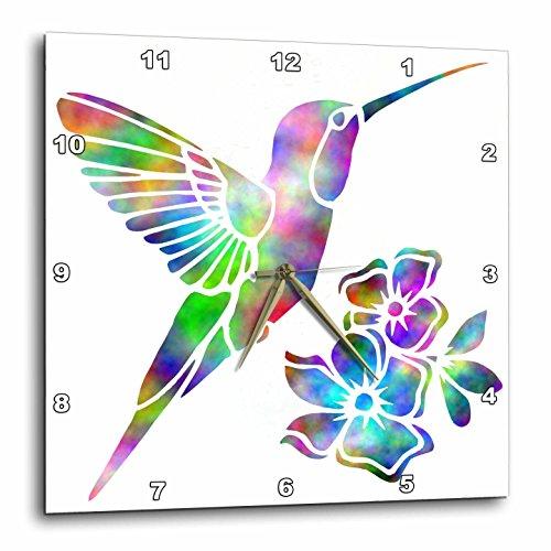 3dRose Nature Rainbow Tie Dye Hummingbird and Flowers