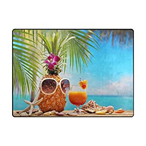 "ALAZA Area Rug 5'3""x4'Pineapple And Cup Of Cocktail On Beach Table, Non-Slip Polyester Floor Mat Carpet for Living Dining Bed Room"