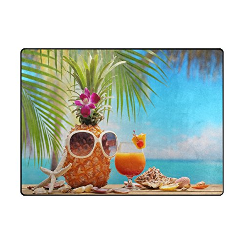 """ALAZA Area Rug 5'3""""x4'Pineapple And Cup Of Cocktail On Beach Table, Non-Slip Polyester Floor Mat Carpet for Living Dining Bed Room"""