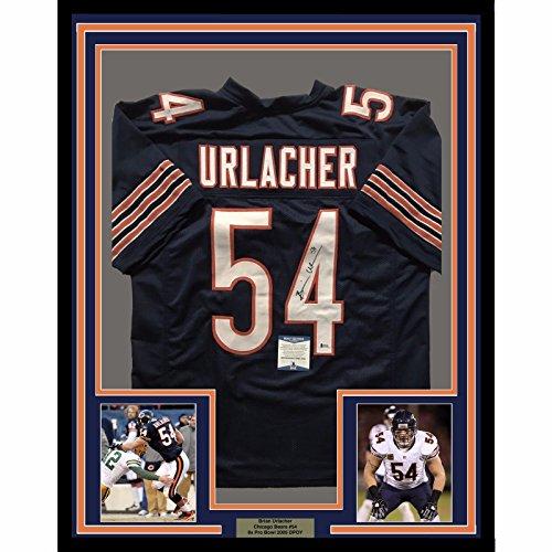 Framed Autographed/Signed Brian Urlacher 33x42 Chicago Bears Blue Football Jersey Beckett BAS COA - Brian Urlacher Autographed Jersey