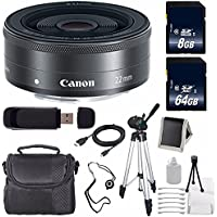Canon EF-M 22mm f/2 STM Lens + 64GB SDXC Class 10 Memory Card + 8GB SDHC Class 10 Memory Card 6AVE Bundle 13 (International Verion) No Warranty