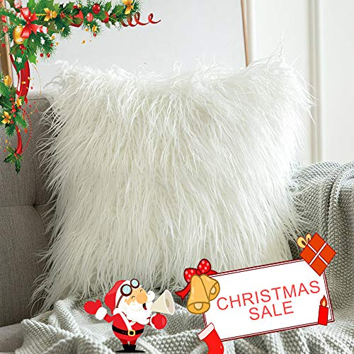 Luxury Christmas Decorative Plush Faux Fur Throw Pillow Covers Case, Art Decor Comfortable Cushion Cover, Square Pillow Shams for Sofa Couch BedHome Decor (White 18x18 inches 45x45CM) Set of Two