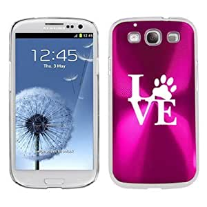 Hot Pink Samsung Galaxy S III S3 Aluminum Plated Hard Back Case Cover K500 Love Paw Print