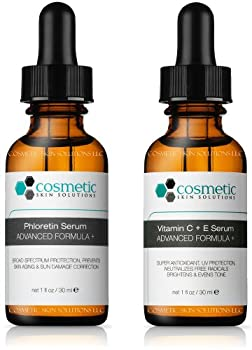 Phloretin Serum + Vitamin C+E Serum Advanced Formula +. Preventative topical Vitamin C - 2 Combo Pack - 1 fl oz / 30 ml each.