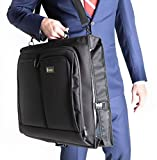 Best Garment Bag - Black Carry On Suit Bag Dress Bag for Travel & Business Trips -w/Hanging Hook & Shoulder Strap- for Men and Women - Folding Wardrobe Carrier Luggage by Golden State Ink