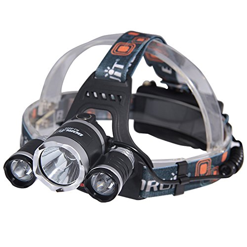 NESTLING 5000 Lumen Bright Headlight Headlamp Flashlight Torch 3 CREE XM-L2 T6 LED with Rechargeable Batteries and Wall Charger for Hiking Camping Riding Fishing Hunting